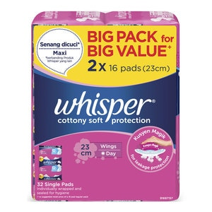 WHISPERCottony Soft Protection Regular Wing 23cm 2 x 16's,FREE GIFTECOUPON RM15 OFF DEC