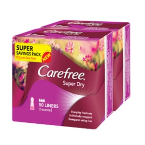 CAREFREESuper Dry Unscented Liners 2 x 50's,Pantyliner