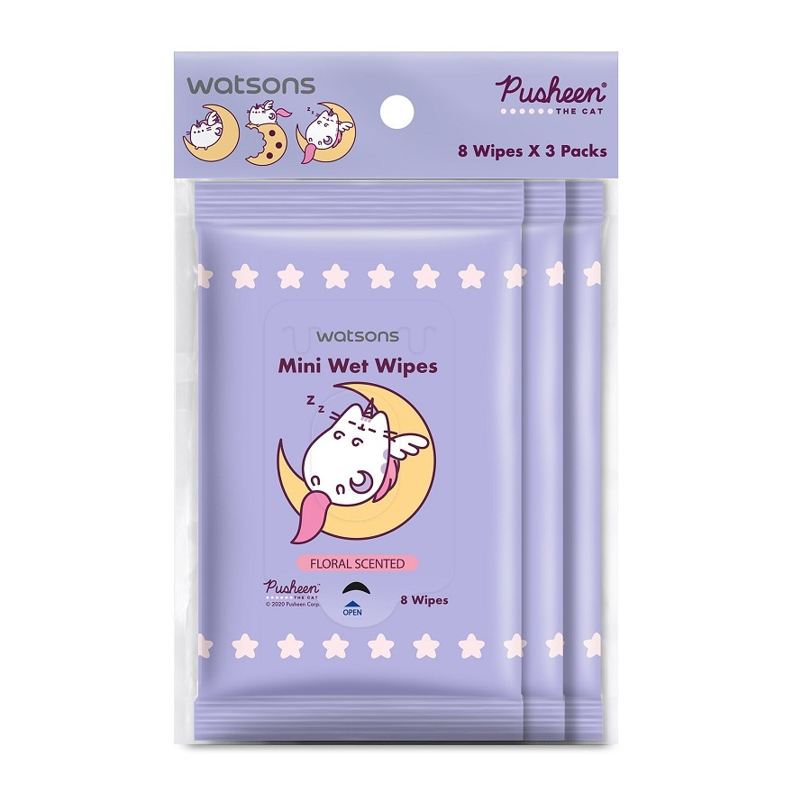 Pusheen Mini Wet Wipes Floral Scented 8SX3