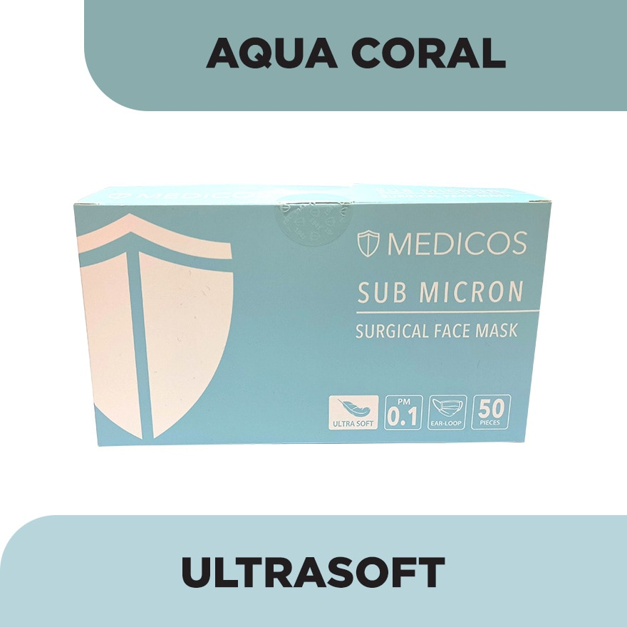 4ply Lumi Series Surgical FaceMask Aqua Coral 50's