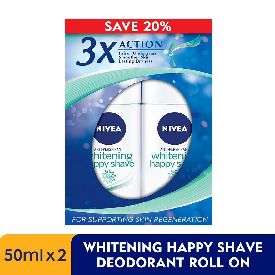 Deodorant Extra White Happy Shave Roll On 2x50ml