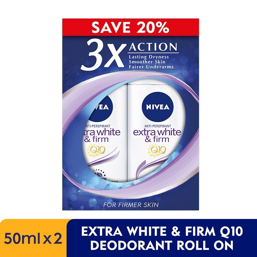 Deodorant Extra White&Firm Q10 Roll On TWP 2x50ml