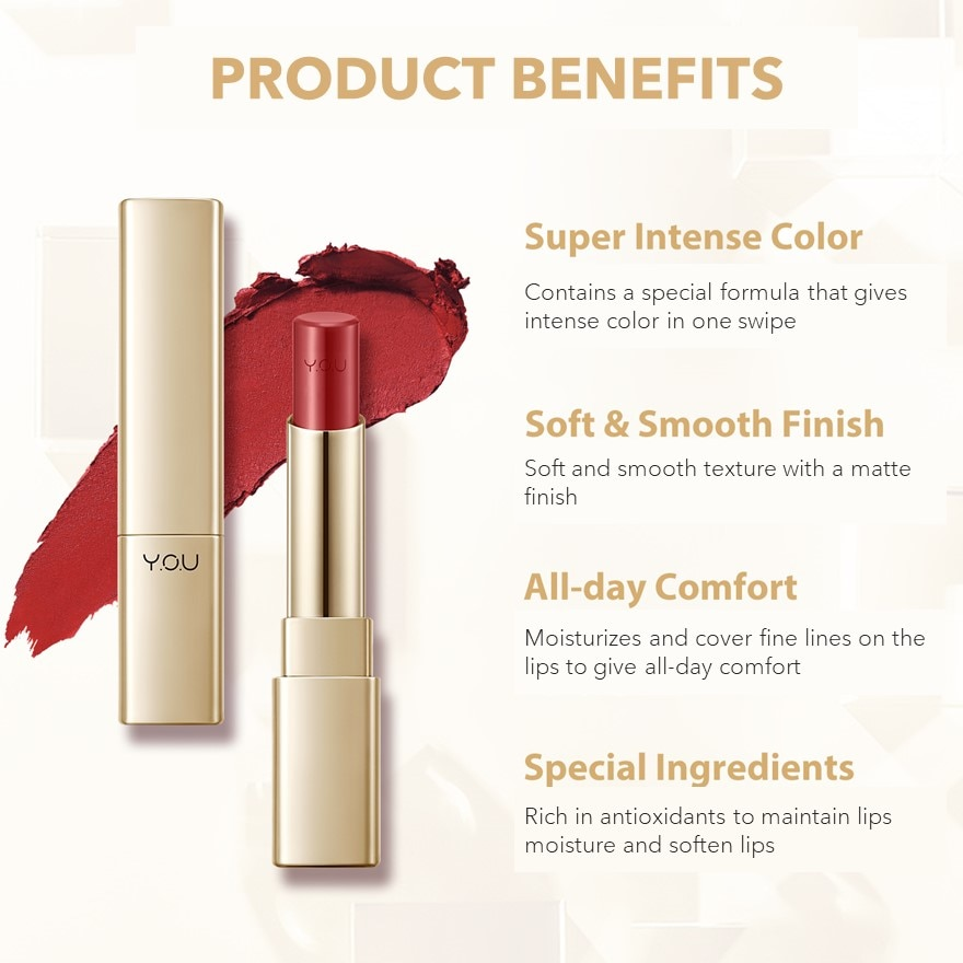 Y.O.UColor Stay Matte Lipstick 01 Kelly,VOUCHER RM5 OFF COSMETICMBR ECOM ADD 10% OFF APR21