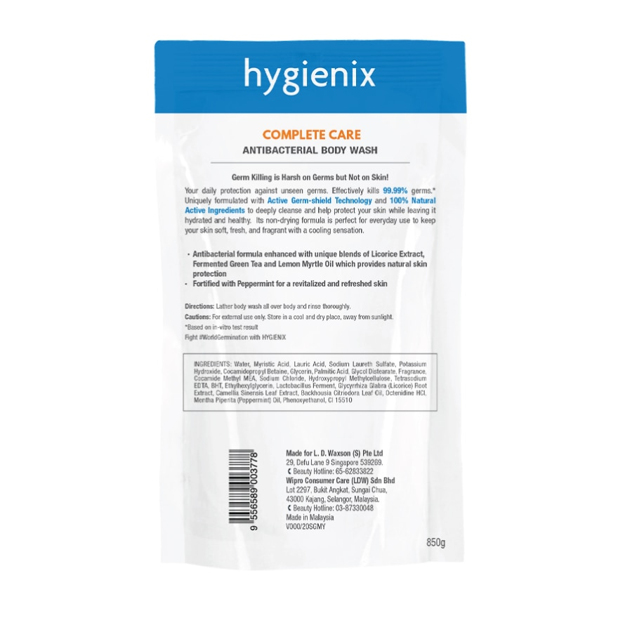 HYGIENIXAntibacterial Body Wash Complete Care Refill 850g,ANY 3 @ 5% ECOMECOUPON RM13 OFF