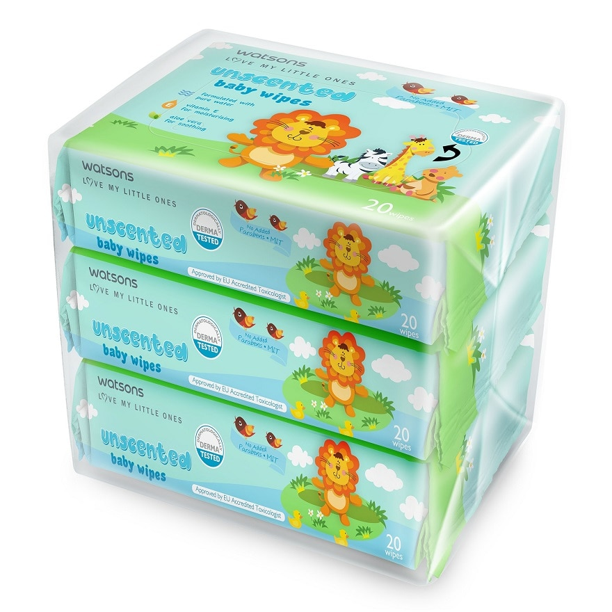 WATSONSWATSONS BABY WIPES UNSCENTED 20SX3,GWP ARFUM L/CAPSULE LAV 12G ECOMGET 2X POINTS MAR TMP