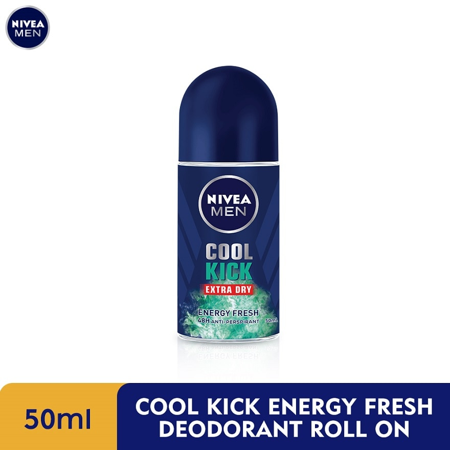 NIVEA FOR MENDeodorant Roll On Cool Kick Energy Fresh 50ml,GET 2X POINTS TMPECOUPON RM8 OFF DEC