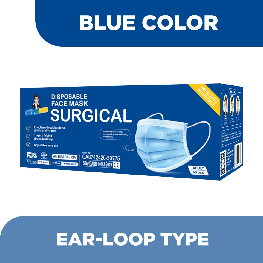 CHANGER3 Ply Surgical Face Mask Adult Blue 50's,ECOUPON RM13 OFFECOUPON RM8 OFF JUN21