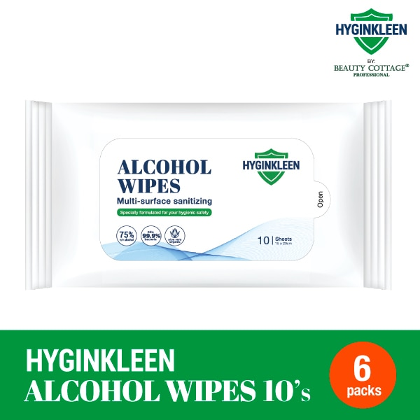 BEAUTY COTTAGEHyginkleen Multi Surface Alcohol Wipes 75% 6X10S,GET 5X POINTS JUL TMPGET 5X POINTS JUL TMP