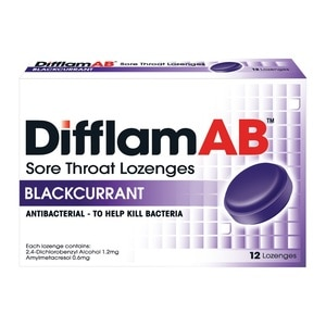 DIFFLAMAB Sore Throat Lozenges Blackcurrant 12's,EARLY BIRD FREE GIFTFREE GIFT