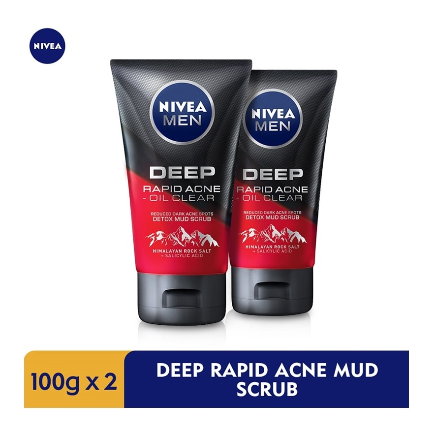 NIVEA FOR MENDEEP Rapid Acne Oil Clear Mud Scrub TWP 2x100g,ECOUPON RM15 OFF DECFREE GIFT