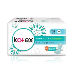 KOTEXNatural Care Anti Bacteria Maxi Wing 24cm 16's,VOU RM8 OFF PC WS COOL AUGPWP @ 30% AUG