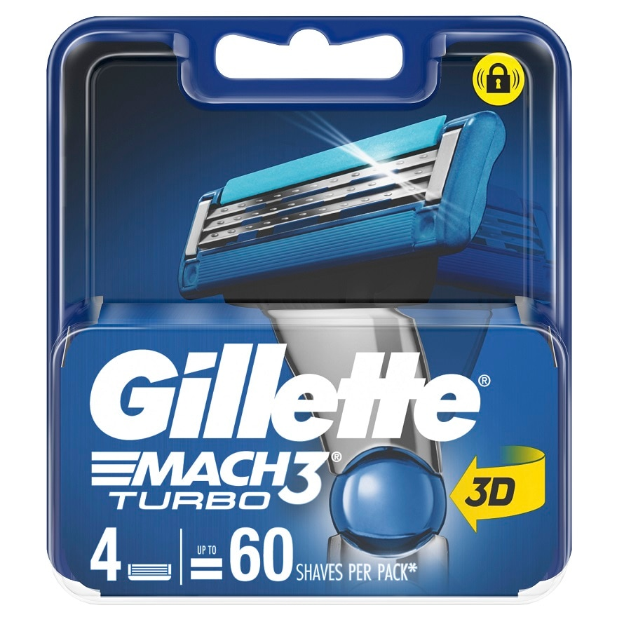 GILLETTEMach 3 Turbo 3d blades 4s refill,ECOUPON RM10 OFF ECOMECOUPON RM7 OFF ECOM