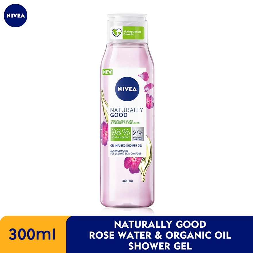 NIVEANaturally Good Rose Water&Organic Shower 300ml,ECOUPON RM8 OFF DECPOINT REDEMPTION