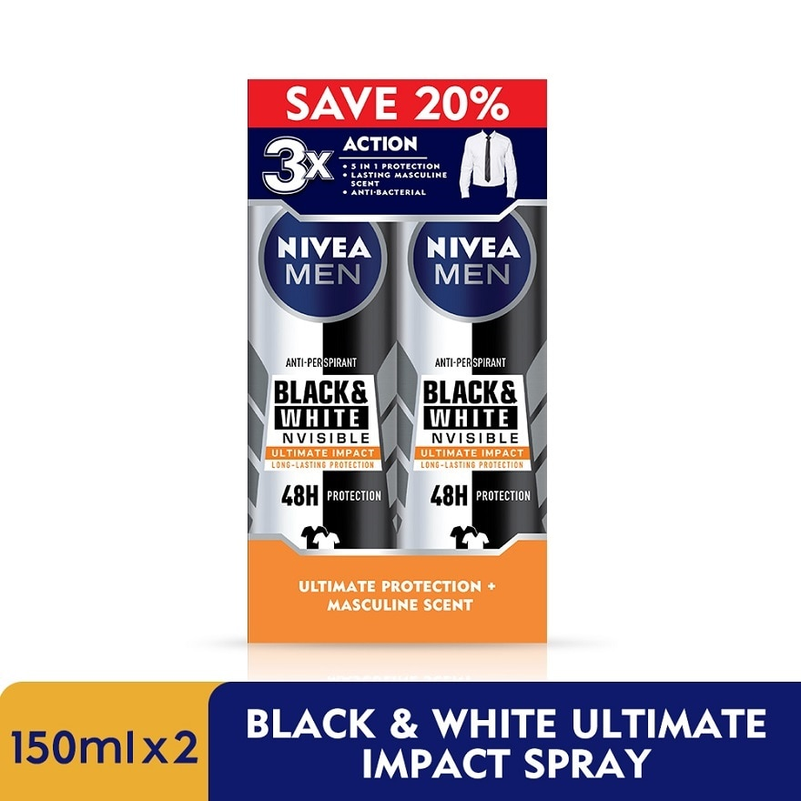 NIVEA FOR MENDeodorant B&W Ultimate Impact Spray TWP 2x150ml,MBR ECOUPON RM 20 OFF MAYECOUPON RM12 OFF ONLINE