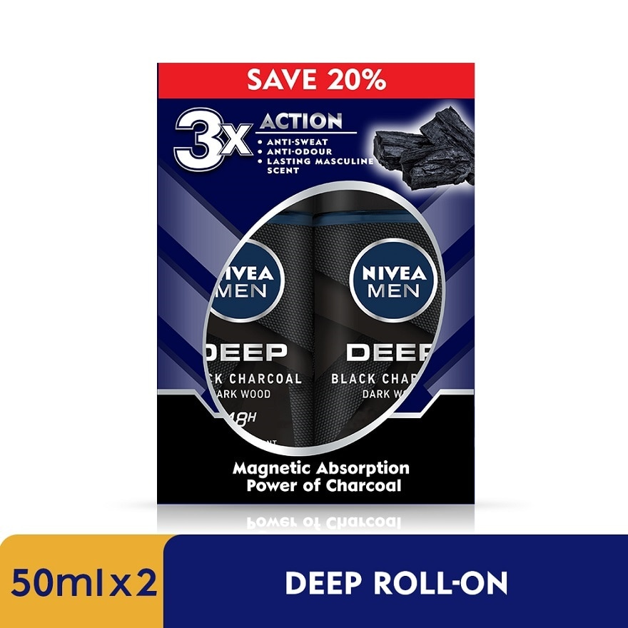 NIVEA FOR MENDEEP Deodorant Roll On Twin Pack 2x50ml,MBR ECOM ADD 10% OFF MAY21MBR ECOM ADD 10% OFF MAY21