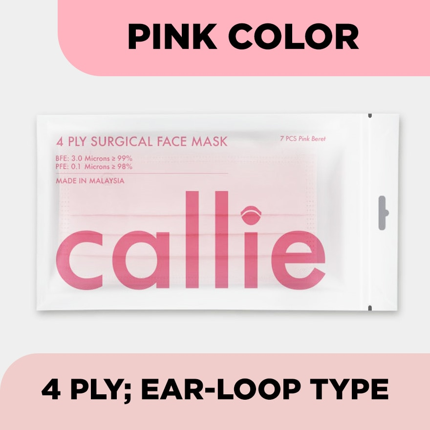 CALLIE4Ply Premium Surgical Face Mask Pink 7s,MBR ECOUPON RM18 OFF RAYAECOUPON RM12 OFF ONLINE