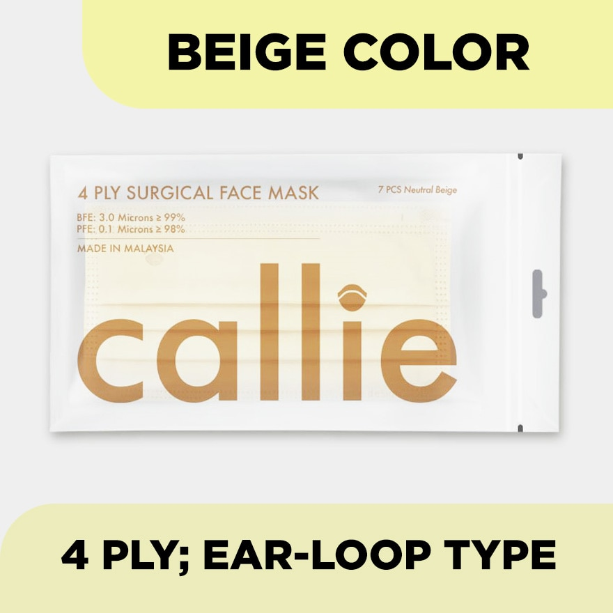 CALLIE4Ply Premium Surgical Face Mask Beige 7s,MBR ECOUPON RM18 OFF RAYAECOUPON RM12 OFF ONLINE