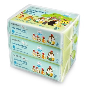 WATSONSSquly & Friends Unscented Baby Wipes 20s X 3,POINT REDEMPTIONEARLY BIRD FREE GIFT
