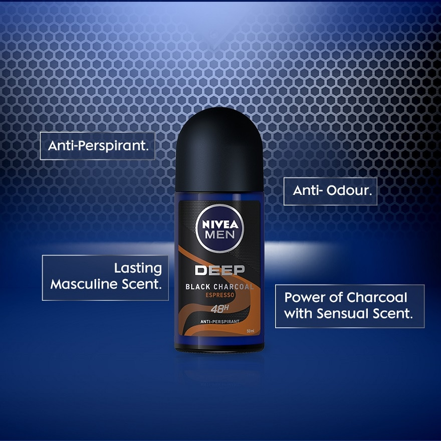 NIVEA FOR MENDEEP Deodorant Espresso Roll On Twin Pack 2x50ml,ECOUPON RM15 OFF DECECOUPON RM8 OFF DEC