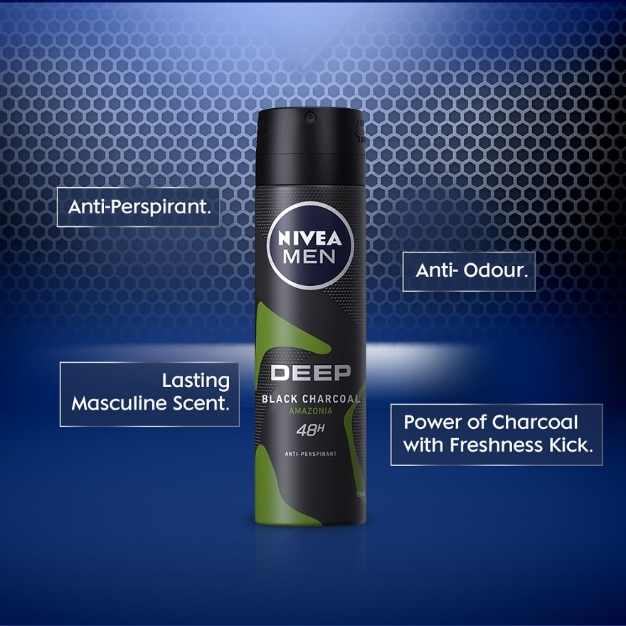 NIVEA FOR MENDeep Black Charcoal Spray 2 x 150ml,GET 2X POINTS TMPGET 2X POINTS TMP