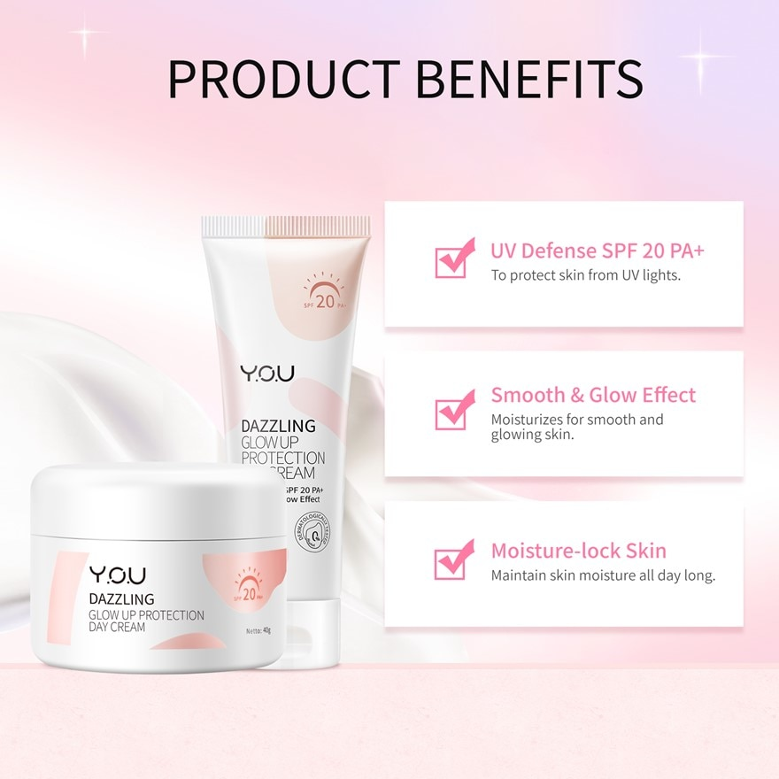 Y.O.UDazzling Glow Up Protection Day Cream 20g,VOUCHER RM5 OFF SC PUSHEEN CRMGET 2X POINTS T&G TMP