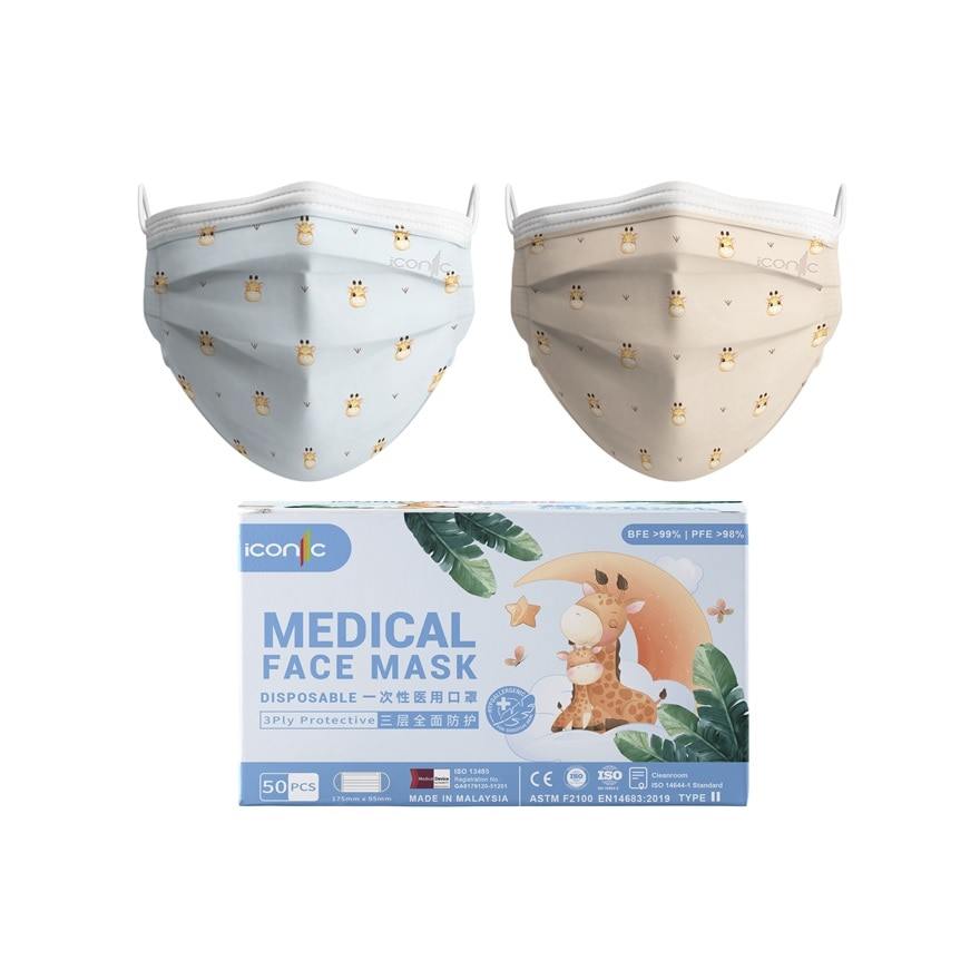 ICONICIconic Giraffe Series 3ply Medical Facemask 50s,MBR FREE HOME DELIVERY (EM)MBR ECOUPON RM50 OFF JUN