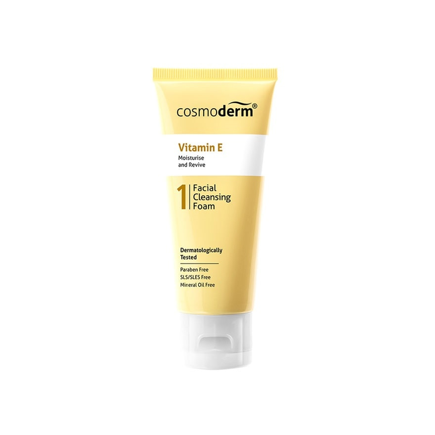 COSMODERMVitamin-E Facial Cleansing Foam 50ml,GET 2X POINTS T&G TMPECOUPON RM8 OFF DEC