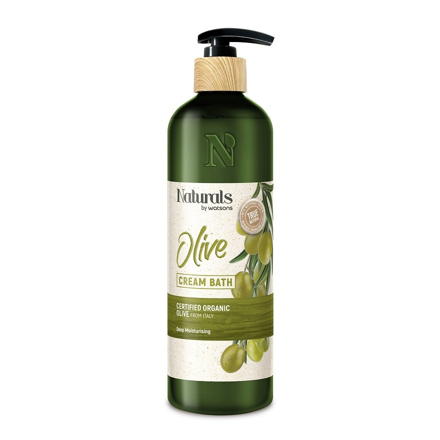 NATURALS BY WATSONSOlive Cream Bath 490ml,MBR ECOM ADD 10% OFF MAY21MBR ECOM ADD 10% OFF MAY21