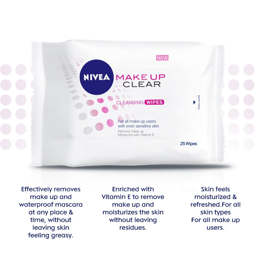 NIVEAMake Up Clear Cleansing Wipes 25pcs,GET 2X POINTS T&G TMPECOUPON RM10 OFF FACIAL