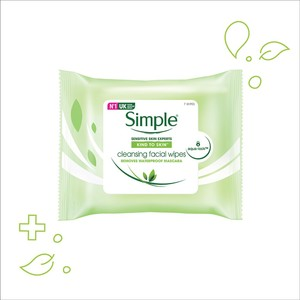 SIMPLEKind to Skin Cleansing Facial Wipes 7's,VOUCHER RM10 OFF JUL MBMSVOUCHER RM10 OFF JUL MBMS