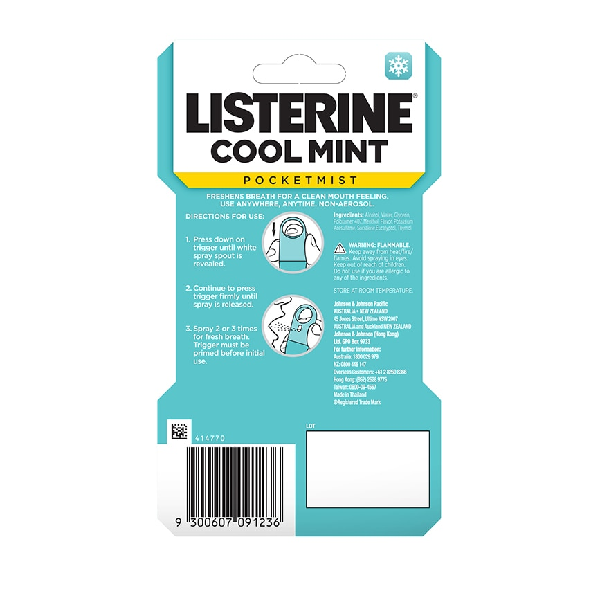 LISTERINEPocketMist Cool Mint 7.7ml,Oral - OthersECOUPON RM8 OFF DEC